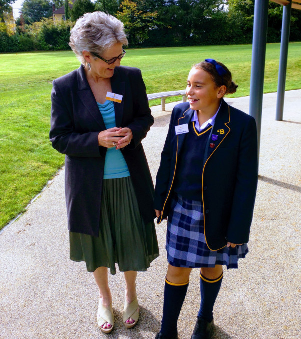 Chair of Governors chatting to Burgess Hill Girl