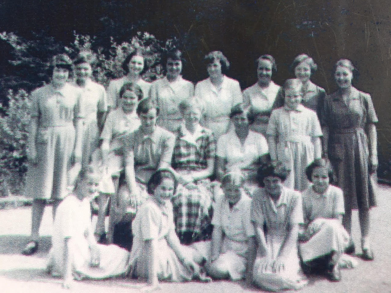 Ingrid, third from left at back, Joanna, second from left at front, Belinda, on right at front. Miss Gillies, centre, circa 1958