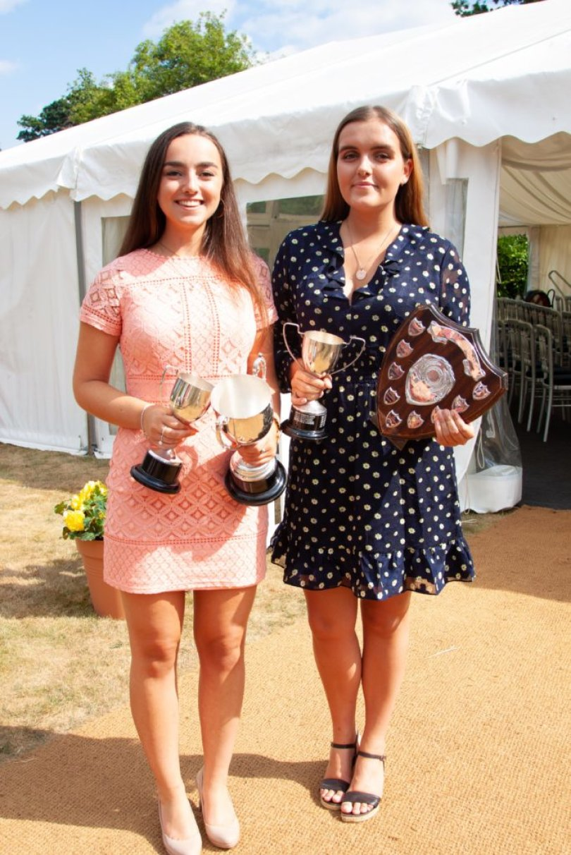 Florence Merrett and Head Girl 2018 Nell Sumners at Senior School Founders' Day