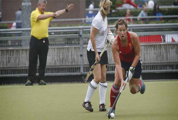 Suzy Clapp playing for England Masters
