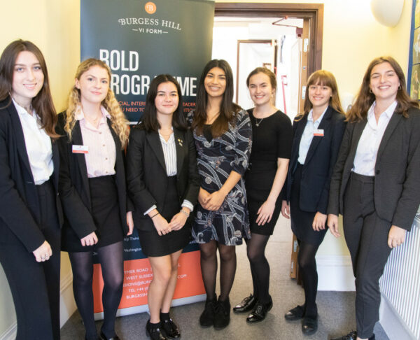 Nikita Khandwala With Sixth Formers At Burgess Hill Girls 2019
